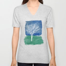 White Tree Watercolor Painting Unisex V-Neck