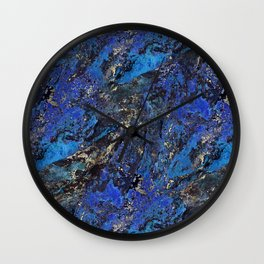 Precious Lapis Lazuli Stone Mineral Blue Gold Wall Clock