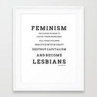 feminism Framed Art Prints featuring FEMINISM by K Thomson