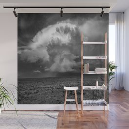 Take a Deep Breath - Storm Cloud Explodes on Horizon in Oklahoma Panhandle in Black and White Wall Mural