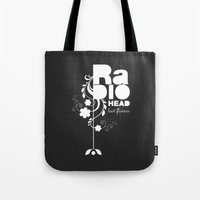 radiohead Tote Bags featuring Radiohead song - Last flowers illustration white by LilaVert
