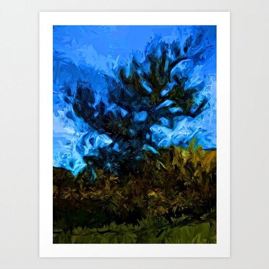Tree Breaks the Blue Sky Art Print