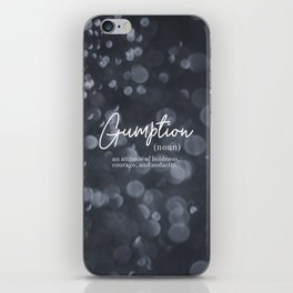 Gumption Definition - Word Nerd - Gray Bokeh iPhone Skin