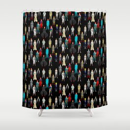 Heroes Scattered Pattern Black Shower Curtain