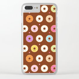 Kawaii Donuts Pattern on Brown Clear iPhone Case