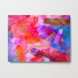 splash painting texture abstract background in purple pink red blue Metal Print