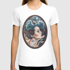Lost At Sea White LARGE Womens Fitted Tee