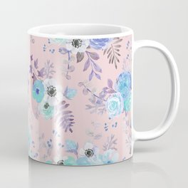 Elegant blush pink blue teal violet watercolor floral Coffee Mug