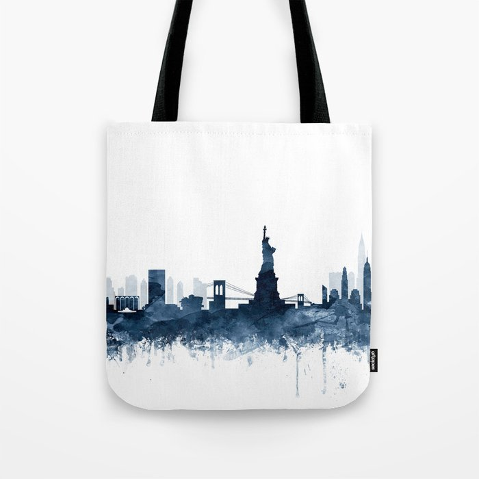 New York City Skyline  Blue Watercolor by zouzounioart Tote Bag