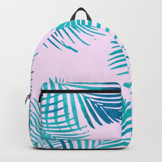 Palm Leaves on Pink Backpack