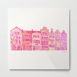 Tropical Homes – Pink Ombré Metal Print