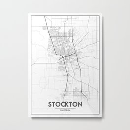 Minimal City Maps - Map Of Stockton, California, United States Metal Print