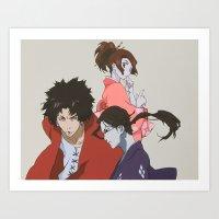 samurai champloo Art Prints featuring Samurai Champloo by MonkeyCatCreations