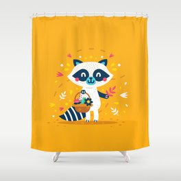 Cute Raccoon Collect Flowes Shower Curtain