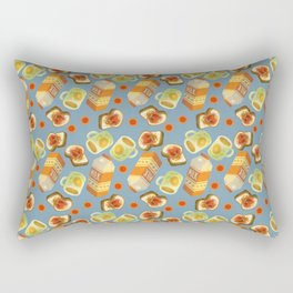 Coffee and Toast (Blueberry Jam Blue) Rectangular Pillow