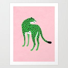The Stare 2: Tropical Green Cheetah Edition Art Print
