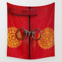 door Wall Tapestries featuring Temple Door by Maria Heyens
