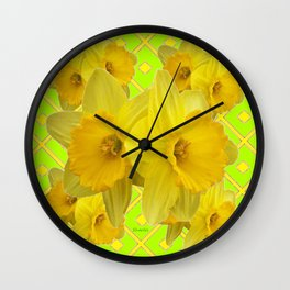 Lime Color & Yellow Daffodils Pattern Art Wall Clock