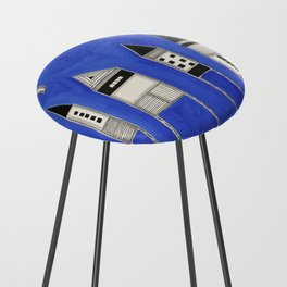 Tiny houses and fish in blue Counter Stool