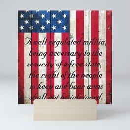 2nd Amendment on American Flag - Vertical Print Mini Art Print