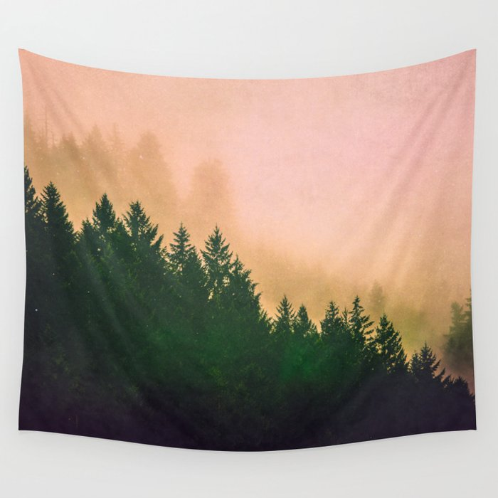 Cascadia Green Trees and Sunset Wall Tapestry