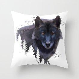 Wolf watercolor, Watercolor Wolf, Watercolor animal, Wolf portrait, Woodland animal Throw Pillow