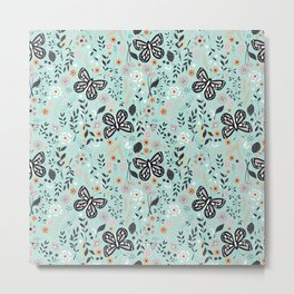 Flowers and butterflies pattern 002 Metal Print