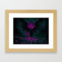 Angelic Guardian Purple Teal Framed Art Print