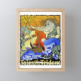 Tales of the Trident:Poseidon with Title Framed Mini Art Print