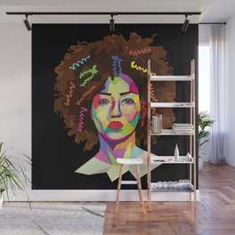 Afro WPAP Black Wall Mural