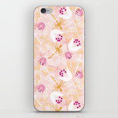 Flowers and dragonfly on blush iPhone & iPod Skin