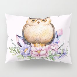 Bohomian Animal Illustration- Be Wise Little Owl Pillow Sham