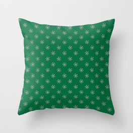 Cotton Candy Pink on Cadmium Green Snowflakes Throw Pillow