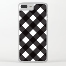Contemporary Black & White Tilt Gingham Pattern - Clear iPhone Case
