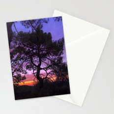 Purple trees. Into the woods at sunset Stationery Cards