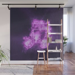 Sixteenth beamed music note symbol. Abstract night sky background Wall Mural