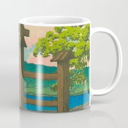 Vintage Japanese Woodblock Print Torii In Water Sacred Shinto Shrine Coffee Mug