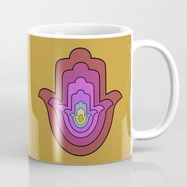 hamsa hand in yellow lotus Coffee Mug