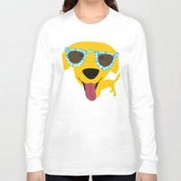 labrador Long Sleeve T-shirts featuring Labrador dog - Sunglasses by Verene Krydsby