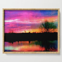 Watercolor January Texas Sunrise Serving Tray