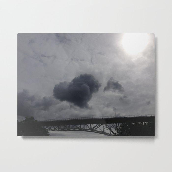 Cloud heart over bridge Metal Print
