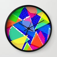 80s Wall Clocks featuring 80s shapes by Sarah Bagshaw