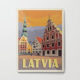 Vintage travel poster-Latvia-Riga. Metal Print