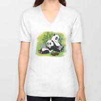 pandas V-neck T-shirts featuring Pandas by Lisidza's art
