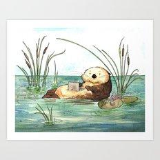 Otter on a Laptop Art Print