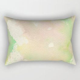 Spring : pink, green, cream, and yellow abstract ink painting Rectangular Pillow