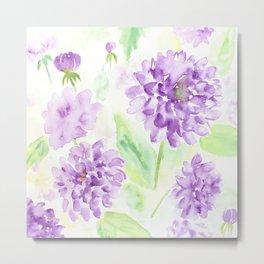 Watercolor blue dahlia flowers Metal Print