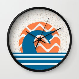 Hang Loose Wave // Sun Surfer Shaka Beach Retro Graphic Design Horizontal Daze Waves Wall Clock