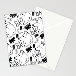 Black white hand drawn wolf floral typography Stationery Cards