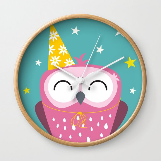 Party Owl Wall Clock